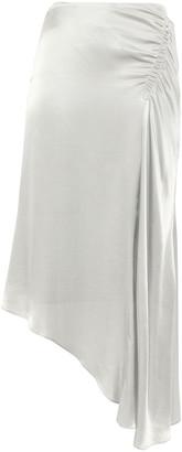 Les Héroïnes J.k. Asymmetric Gathered Satin Midi Skirt
