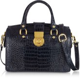 L.a.p.a. Blue Croco-stamped Italian Leather Doctor Bag