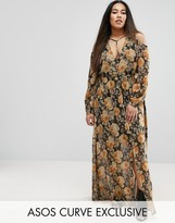 Asos Cold Shoulder Long Sleeve Maxi Dress In Floral Print With Metallic Thread