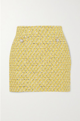 Alessandra Rich Crystal-embellished Sequined Tweed Mini Skirt - Yellow