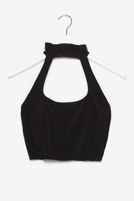 Nasty Gal Womens Halter At You Cut-Out Crop Top - Black - 4