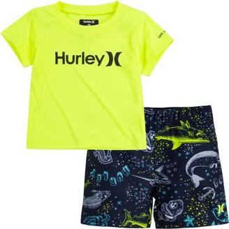 Hurley Baby Boy Dri-FIT UPF 50+ Rash Guard Top & Board Shorts 2-Piece Set