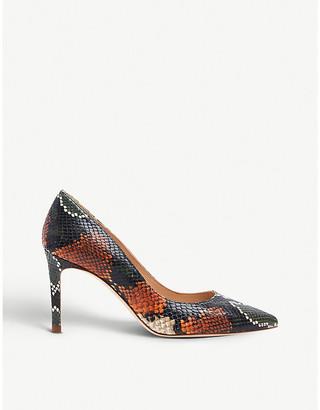 LK Bennett Floret snakeskin-embossed leather courts