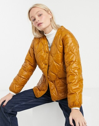 Monki quilted front pocket jacket in brown