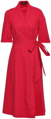 Saloni Mae Cotton-blend Poplin Midi Wrap Dress