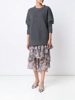 Jason Wu Prince of Wales Floral Print Chiffon Ruffle Skirt