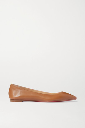 Christian Louboutin Ballalla Leather Point-toe Flats - Tan