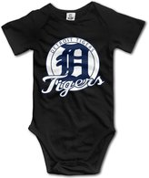 Cute Boddy Detroit Baseball Logo Unisex Boys Girls Short Sleeve Bodysuit Snapsuit
