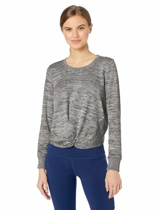 Andrew Marc Women's Marled Sweater Knit Twist Front Top