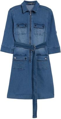 Sharagano Stretch Denim Zip Front Dress