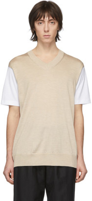 Junya Watanabe White and Beige Thin Knit Jersey T-Shirt
