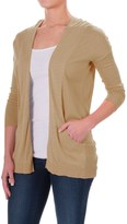 Specially made Two-Pocket Cardigan Sweater - Open Front, Elbow Sleeve (For Women)