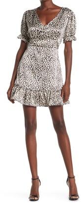 Velvet Torch Satin Puffed Sleeve Dress