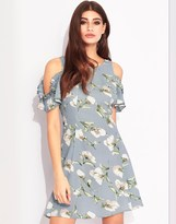 Lipsy Floral Print Cold Shoulder Dress