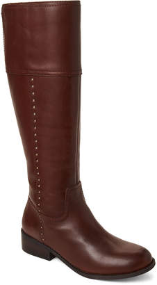 Marc Fisher Brown Galaya Studded Leather Tall Boots