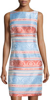 Chetta B Striped Jacquard Sleeveless Sheath Dress, Coral/Bluebonnet
