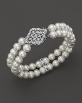 Bloomingdale's Cultured Freshwater Pearl Bracelet with Diamonds in 14K White Gold, 7mm