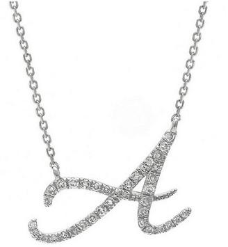 Jane Basch 14K 0.16 Ct. Tw. Diamond Script Initial Necklace
