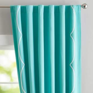 Pottery Barn Teen Scallop Border Blackout Curtain, 63&quot, Pool