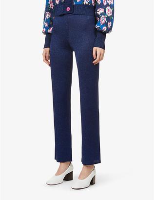 ART DEALER Metallic jacquard-pattern high-rise stretch-knit trousers
