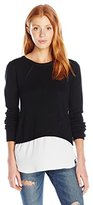 Amy Byer A. Byer Juniors Long Sleeve Scoop Neck Twofer Sweater