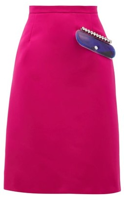 Christopher Kane Pvc-pocket A-line Satin Skirt - Womens - Pink