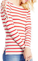 Jessica Simpson Darby Striped Lace-Up Shoulder Detail Top