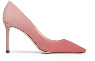 Jimmy Choo ROMY 85 Bubblegum and Blush Pink Degrade Suede Pointed Pumps