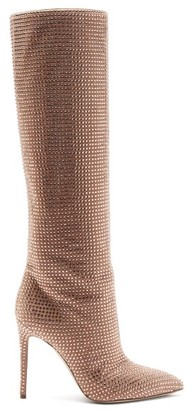 Paris Texas Holly Crystal-embellished Suede Knee-high Boots - Pink