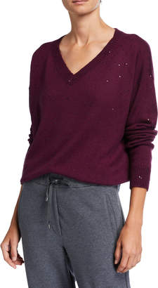 Brunello Cucinelli Cashmere Sequined V-Neck Sweater
