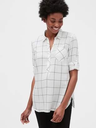 Gap Maternity Roll Sleeve Flannel Popover Shirt
