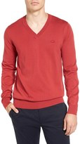 Lacoste Cotton Jersey V-Neck Sweater
