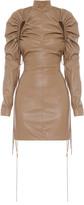 Aleksandre Akhalkatsishvili Ruched Faux Leather Mini Dress