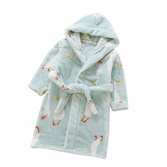 Fctree Boys Girl's Soft Fleece Hooded Bathrobe Kids Robe Toddler Pajamas Sleepwear (Green Birds 5 Years)