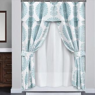 Lush Decor 16-piece Evelyn Medallion Double Swag Shower Curtain Set