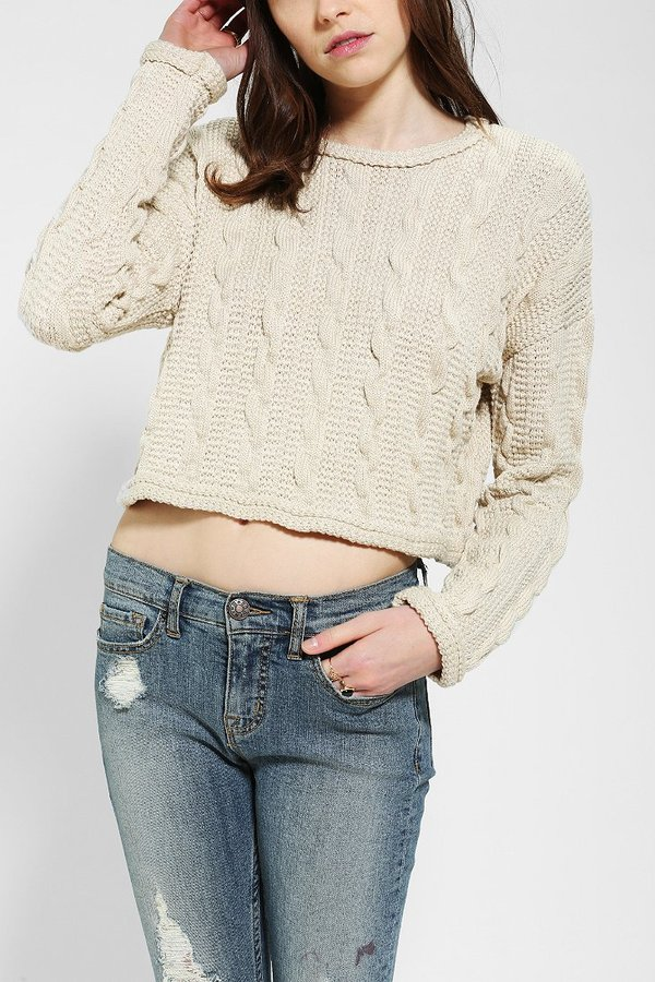 Sparkle & Fade Chunky Cable-Knit Cropped Sweater