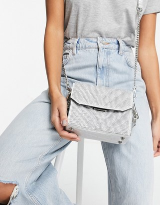 Steve Madden BPLAYED quilted chevron cross-body bag in silver diamante
