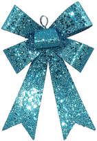 Asstd National Brand 7 Turquoise Blue Sequin and Glitter Bow ChristmasOrnament