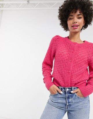 Monki button down cardigan in pink