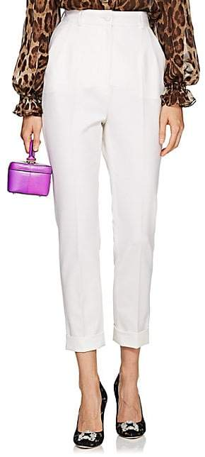 Dolce & Gabbana Women's Cuffed Wool-Blend Crop Trousers - White