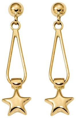 14K Yellow Gold Star Dangle Post Earrings