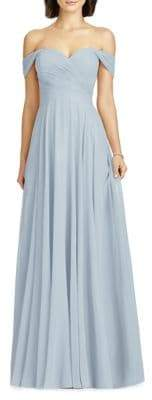 Dessy Collection Full Length Off Shoulder Lux Chiffon Dress