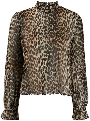 Ganni Leopard Print Pleated Blouse