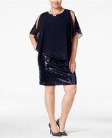 MSK Plus Size Sequined Cold-Shoulder Capelet Dress