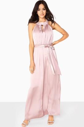 Little Mistress Bethany Satin Maxi Dress With Keyhole