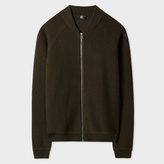 Paul Smith Men's Khaki Boiled Wool Zip-Front Cardigan