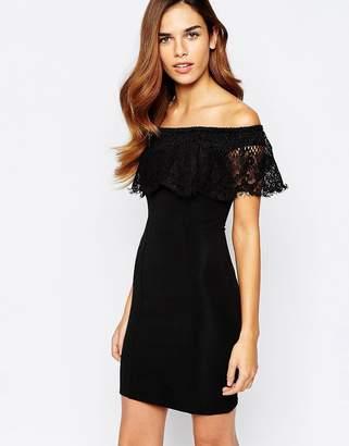Lipsy Lace Off Shoulder Mini Bodycon Dress