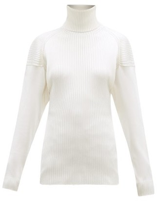 Bottega Veneta Cut-out Roll-neck Ribbed Silk Sweater - Womens - Ivory