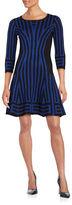 Gabby Skye Round Neckline Striped Dress