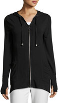 Neiman Marcus Slim Hooded Zip Sweatshirt, Black